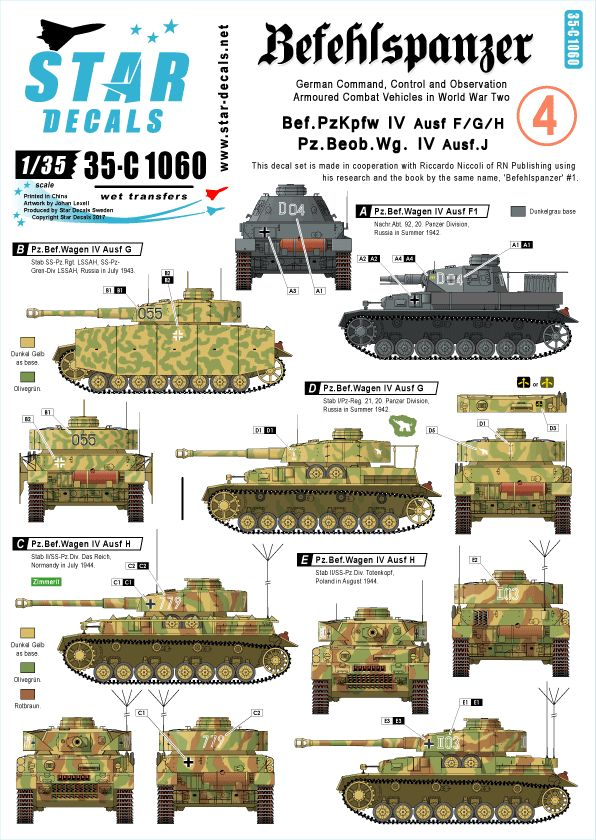 exquisite style authentic quality cheap prices STAR35-C1060 Befehlspanzer # 4. Bef.PzKpfw IV Ausf F, G, H, Pz.Beob.Wg. IV  Ausf J.